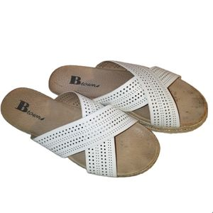 BROWNS White Crossed Perforated Espadrille Sandals